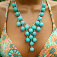 Aqua Blue Jade Bib Necklace. Seafoam Stone Bib Necklace on Silver