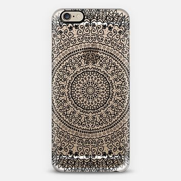 BLACK FEATHER MANDALA - CRYSTAL CLEAR PHONE CASE iPhone 6 case by Nika Martinez | Casetify
