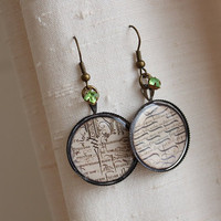 Lord of The Rings Aged Elven Storybook Page Earrings