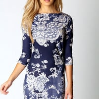 Darcey Printed Long Sleeve Bodycon Dress