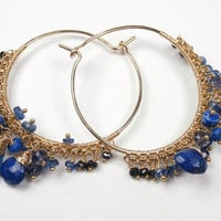 Kyanite Blue Lapis Beaded Gold Filled Hoop Earrings Wire Wrapped Gemstone Cobalt Luxury Fashion