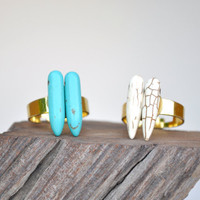 Spike ring. Turquoise spike. White spike.