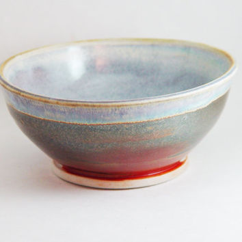 """Porcelain Cereal Bowl, Copper & Light Blue colors, """"Good Morning"""", Kitchen Serving dish Soup 6 inch, Wheel Thrown pottery ceramic"""