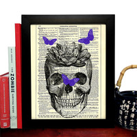 Skull With Moth Friends Vintage Illustration, Eco Friendly Home, Kitchen, Bathroom, Nursery Decor, Dictionary Book Print Buy 2 Get 1 FREE