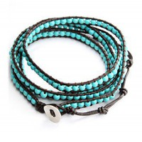 Turquoise Leather Knit Waistbelt Bracelet - Retro, Indie and Unique Fashion