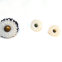 White Flower Ring and Earrings