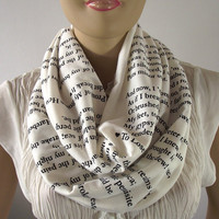 Love Poems Infinity Scarf...Emily Dickinson...Circle Scarf....Cotton Jersey...Hand printed Loop Scarf..Romantic Gift
