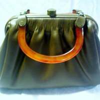 Vintage Brown Leather Like Lucite Handle Bag Purse