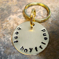 Boyfriend Keychain, Personalized Keychain, Personalized Key Chain, Hand Stamped Key Chain