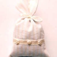 Check Lavender Bag with Flower Beads - Country Style Drawer Linen with French Dried Lavender