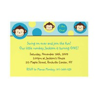 Mod Monkey Custom Birthday Invitation from Zazzle.com