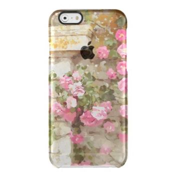 Watercolour Effect Pink Climbing Roses Clear iPhone Case