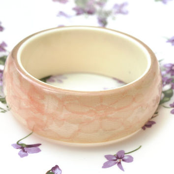 Bangle, Lucite Bangle, Plastic Bangle, Plastic Bracelet, Chunky Bangle, Lace, Pink Lace, Cream, Embedded Lucite, Costume Jewellery - 1960s