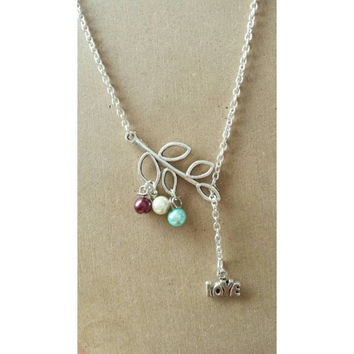 mothers lariat, custom lariat, mothers necklace, Birthstone necklace,  mothers y necklace,  y necklace, personalized necklace, gift for mom