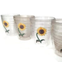 Retro Tervis Tumblers - Mid Century - Insulated - Sunflower Appliqué - Set of 4 - Hot or Cold Drinks - Drinking Glasses - Vintage Kitchen