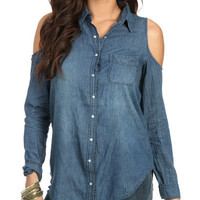 Cold Shoulder Denim Shirt | Shop Tops at Wet Seal