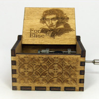 Engraved  wooden music box (For Elise)