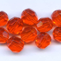 Vintage Faceted Orange Glass Beads Western Germany Translucent 10mm