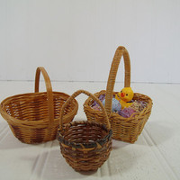 Vintage Miniature Natural Wicker Basket Trio - Collection of 3 Baskets - Shabby Cottage Style Decor Set of 3 Baskets for Decor or Doll House