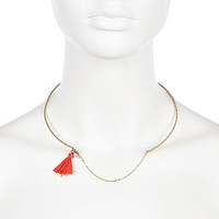 River Island Womens Gold tone coral tassle torque necklace