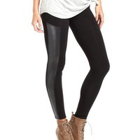 Pieced Pleather Cotton Legging: Charlotte Russe