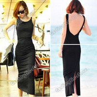 Women's Back V-Neck Backless Sexy Cocktail Party Evening Maxi Long Dress #350