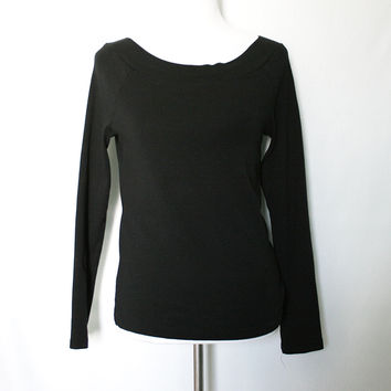 Black jersey knit boat neck pullover sweater from Shop Lily&Ofelia