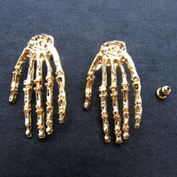 exaggerated  earrings,  gold hands earrings EH55