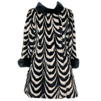 1960's Luxurious Op-Art Stripe Mink-Fur Double-Breasted Coat at 1stdibs