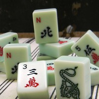 vintage light green Mahjong tiles baker&#x27;s by Mylittlethriftstore