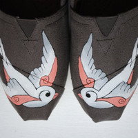Hand Painted TOMS In White Swallows Bird Design