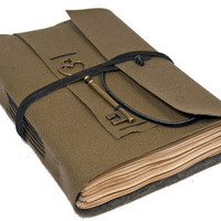 Loden Green Vegan Faux Leather Journal with Tea Stained Pages