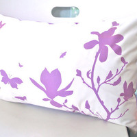 Lavender Print on Off White Cotton Magnolia and Butterfies Rectangle Pillow