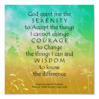 Serenity Prayer Green &amp; Gold Landscape Print from Zazzle.com