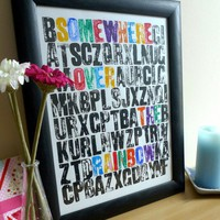 Letterpress Personalised Somewhere Over the by DurnallDesigns