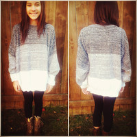 Ombre Gray &amp; White Vintage Pullover Sweater