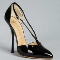Giuseppe Zanotti black patent leather pointed toe center strap stilettos