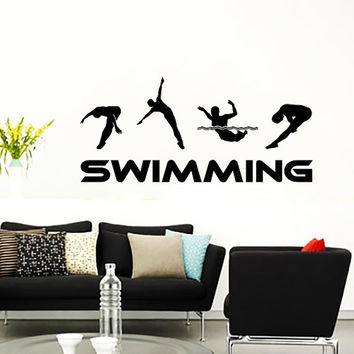 Wall decal vinyl sticker decals art home from for Swimming bedroom decor