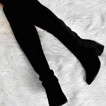 Naida Black Suede Effect Knee High Boots | Pink Boutique