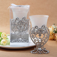 [USD $ 19.99] Silver Bow and Heart Candle Votive Holder