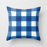 Square - checked, blue pixels Throw Pillow by Jcks
