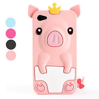 [USD $ 3.79]  - Cute Pig Style Protective Silicone Case for iPhone 4 and 4S (Assorted Colors)