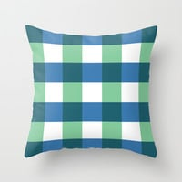 Square - checked, blue & green pixels Throw Pillow by Jcks
