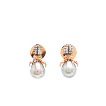 18K Pink Gold, Diamond and Pearl Khepri Earrings - DANIELA VILLEGAS