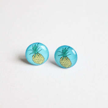 12,5 mm small pineapple earrings, tropical earrings, food earrings, fruit earring, pineapple stud earrings, funny studs, blue, yellow, green