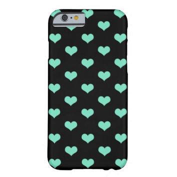 Mint Hearts on Black - iPhone 6 Case