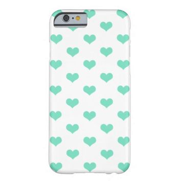 Mint Hearts on White - iPhone 6 Case