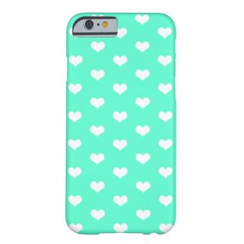 White Hearts Pattern on Mint - iPhone 6 Case