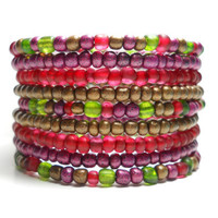 Beaded Wrap Bracelet Cranberry and Green Memory Wire Stacking Bracelet