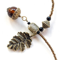 Acorn bookmark, beaded book thong - antique bronze leaf & amber glass beads